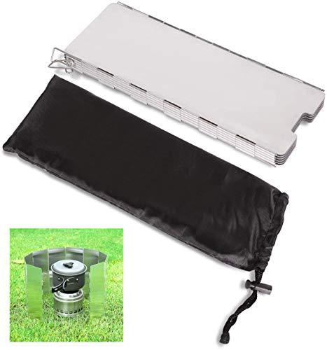 Speede Windschutz Campingkocher,Aluminium Windschutzscheibe,Faltbar Windschutzscheibe Windscreen für Camping Kocher Outdoor Grill