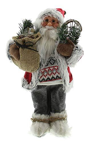 Unbekannt Weihnachtsmann mit Geschenkesack 42 cm groß Weihnachtsdeko Santa Claus Nikolaus