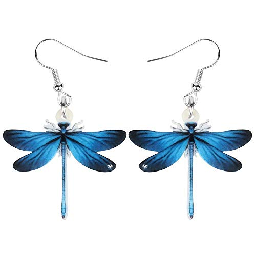 XAOQW Acrílico Encanto Libélula Pendientes Gran Largo Insecto Animal Colgar Gota Joyas para Mujeres Adolescentes de Moda Verano Regalo Accesorios-Azul