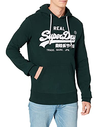 Superdry Mens VL Embroidery Hood Sweater, Pine, 2XL