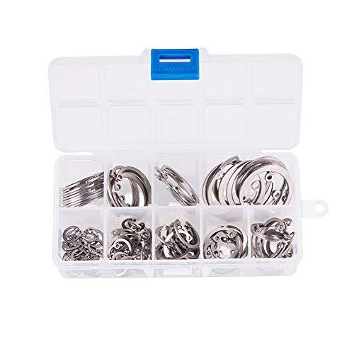 INCREWAY - Anillo de retención de acero inoxidable con cierre de clip tamaño: 8 mm a 32 mm(Diámetro nominal)