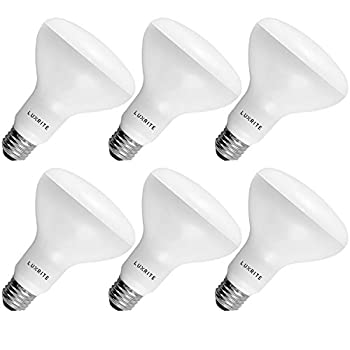 6-Pack BR30 LED Bulb Luxrite 65W Equivalent 3500K Natural White Dimmable 650 Lumens LED Flood Light Bulbs 9W E26 Medium Base Damp Rated Indoor/Outdoor - Living Room Kitchen and Recessed