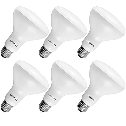 6-Pack BR30 LED Bulb, Luxrite, 65W Equivalent, 2700K Warm White, Dimmable, 650 Lumens, LED Flood Light Bulbs, 9W, Energy Star, E26 Medium Base, Damp Rated, Indoor/Outdoor - Living Room and Kitchen