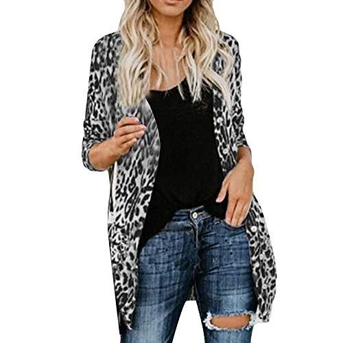 SHOBDW Mujeres de Manga Larga con Cuello en V Suelta Talla Grande Sexy Estampado de Leopardo Abrigo de Moda Blusa Camisetas sin Mangas Abrigos de Invierno Abrigos de Solapa(Gris,x-Large)
