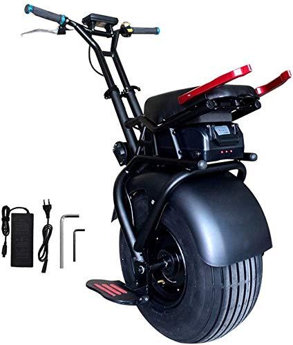 JILIGUALA Eléctrico monociclo Body Balance Senso Auto Rueda de 18 pulgadas Monociclo Scooter eléctrico con batería potente útil 1000 W Carga 60 V de litio 100 kg Máxima velocidad de 48 km