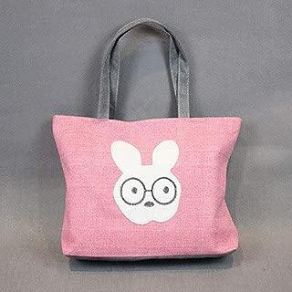 Gimax Shoulder Bags - New Cartoon Cats Printed Female Shopping Tote Bag Big Canvas Handbag Women's Shoulder Crossbody Bag Portable Student Bookbag - (Color: Pink Rabbit)