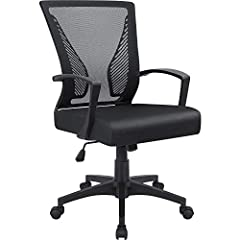 Ergonomic office chair with lumbar support mesh back for breathability. Updated thick padded Seat provide extra comfort for daily use. Bifima certification: more reliable and sturdy, maximum capacity up to 265 lbs. 5 star heavy duty base with 360 deg...