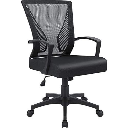 Furmax Bürostuhl mit Rückenlehne und Drehgelenk, ergonomischer Computerstuhl mit Armlehne, Schwarz