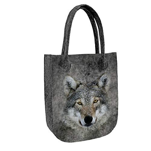 BERTONI CITY Filztasche Shopper Handtasche Tasche aus Filz Damentasche Tiermuster (TC66 Lupo)