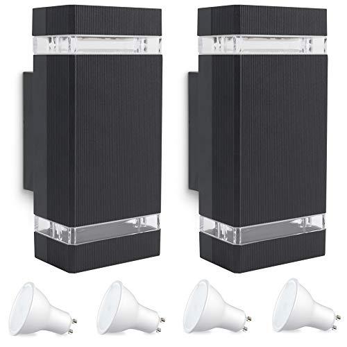 SSC-LUXon 2er Set LED Außenwandleuchte SELA Up & Down mit GU10 LED 5W warmweiß 230V - Wandleuchte schwarz IP54 Garten Terrasse
