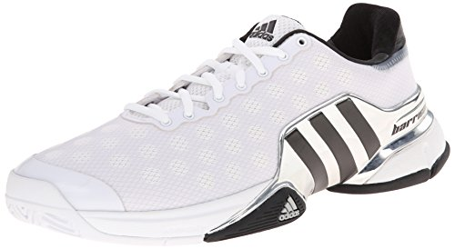 adidas Performance Men's Barricade 2015 Tennis Shoe, White/Core Black/Bright Red, 10 M US