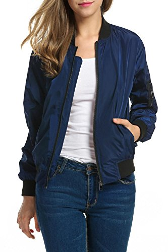 Zeagoo Women's Bomber Jacket Light-Weight with Pockets(Navy Blue, XL)
