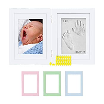 Baby Hand & Footprint Hinged Photo Frame Kit – for Baby Girls & Boys Personalized Gift for Showers Registries & More White Frame by Kubai