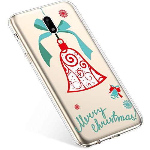 Uposao Coque pour Nokia 6 Etui Silicone TPU Souple Transparente Coque Noël Cerf Flocon de Neige père noël Sapin de Noël Elk Christmas Motif Ultra Mince Premium Hybrid Case Coque.