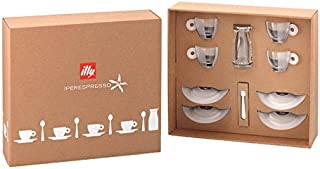 Illy Kit Bellezza Iperespresso Kit 4 Luxion Cups with Saucers, 1 Milk Jug, 4 Ombra Spoons