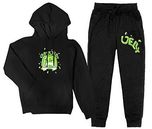 Jelly Green Kids Hoodie Sweatsuits 2 Pcs Boys/Teen/Kids Pullover Hoodies Sweatpants Tracksuits Set Outfit Sweatshirt Top Merch