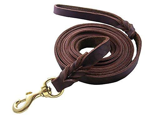 Rantow Handgemachte geflochtenes braunes Leder Hundeleine für große Hunde mittelgroße Hunde, 4 Fuß lang 0,47 Zoll breit haltbare Starke echtes Leder Tough Dog Leads (Copper)