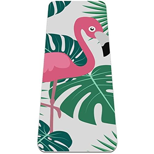 nakw88 Flamingo Tropical Palm Jungle Monstera Leaves Antideslizante Yoga Mat Grueso Ejercicio y Fitness Mat para Yoga, Pilates y Entrenamientos de Piso (183 x 61 cm x 6 mm) para mujeres y niñas