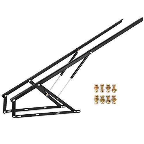 VEVOR Bett Lift Springaufbeschlag Bett aus Stahl, Bettbeschlag 152 cm Lang, Schwarz Hydraulische Bett Lift up Scharnier 60 kg Ladekapazität für Schlafsofas oder Betten mit Einer Größe von 1,5 x 2 m