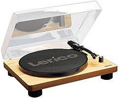 Lenco LS-50 platenspeler met USB-aansluiting, in houten behuizing met ingebouwde luidsprekers en geïntegreerde...