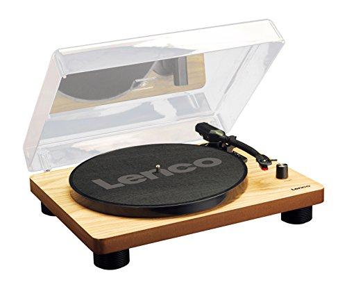 Lenco Plattenspieler LS-50 mit USB-Anschluss, im Holzgehäuse mit eingebauten Lautsprechern und integriertem Verstärker