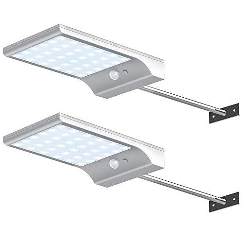 JUNSHUO Lámparas Solares(2 pack),Con mando a distancia 48 LED Focos Exterior Impermeable con 120 Grados de Angulo Amplio de Sensor de Movimiento Solar Iluminacion para Jardin, Patio, Camino. (blanco)