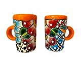 Colorful Mexican Ceramic Shot Glasses With Handles, Hand-painted in Mexico - Great for Tequila, Mezcal and Sangrita, 2 oz set of 2 - Tequilero Multicolor Oreja