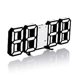 3D Digital Clock, Desktop or Wall-Mounted Alarm Clock, with 3 Automatic Brightness Adjustment, LED Electronic Clock, Modern Night lamp Clock Date, Temperature Display (Black&White)