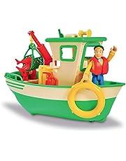 Smoby- Sam Le Pompier-Bateau de Pêche Flottant-Grue Mobile + Treuil Mécanique-1 Figurine Incluse Barco, Color Verde (Simba 7/109251074002)