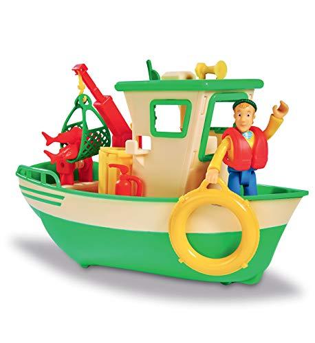 Smoby- Sam Le Pompier-Bateau de Pêche Flottant-Grue Mobile + Treuil Mécanique-1 Figurine Incluse Barca, Colore Verde, 7/109251074002