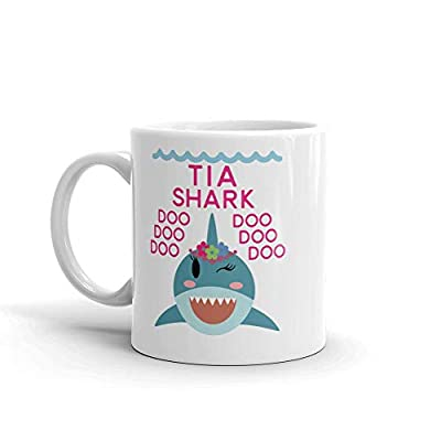"""Shark Tia"" Unique Ceramic Coffee Mug/Cup (11 oz.) — Birthday Mother's Day Christmas For Mom Mother Grandma"