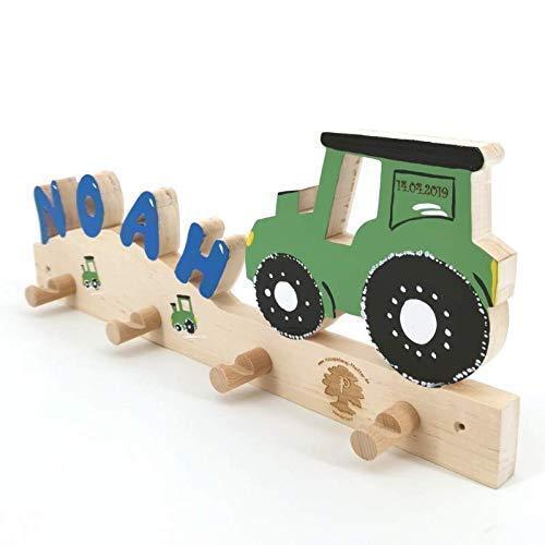 Traktor II - Garderobe mit Name Kinder Holz - Geburtsgeschenk, Geburtstagsgeschenk, Weihnachtsgeschenk
