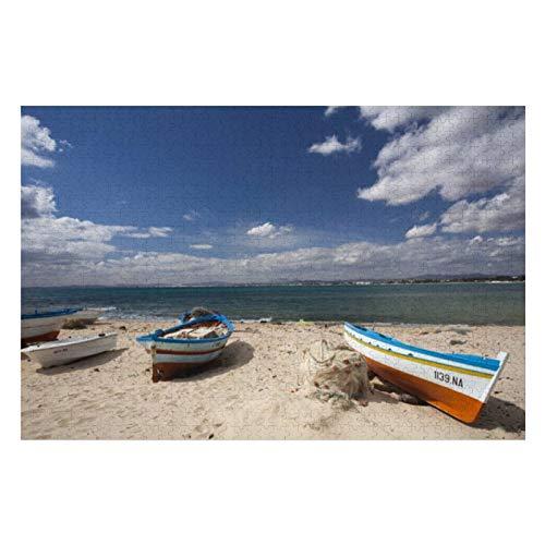 Túnez, Cap Bon, Hammamet, barcos de pesca en rompecabezas para adultos, 1000 piezas para niños rompecabezas juego de rompecabezas juguetes regalo para niños y niñas, 50,8 x 76,2 cm