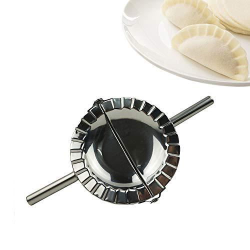 "Proshopping Stainless Steel Dumpling Maker, X-Large 5"" Goya Empanada Press Mold, Ravioli Mould Crimper, Wraper Dough Cutter - for Pie Ravioli Chinese Dumpling Pastry, with long handle (XL 5"" Dia)"