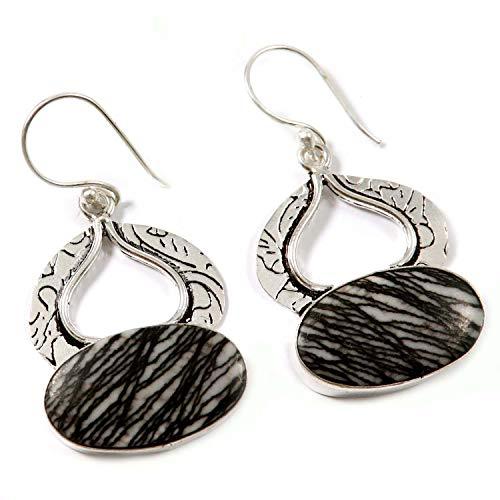 Goyal Crafts GEN29 - Pendientes chapados en plata con piedra natural de jaspe de cebra negra