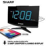 Sharp Digital Alarm Clock - Large Display with High/Low Brightness – Charge Phone with FastCharge 2 Amp Power Port for USB - Modern Design - Jumbo Blue LED Digit Display – Black