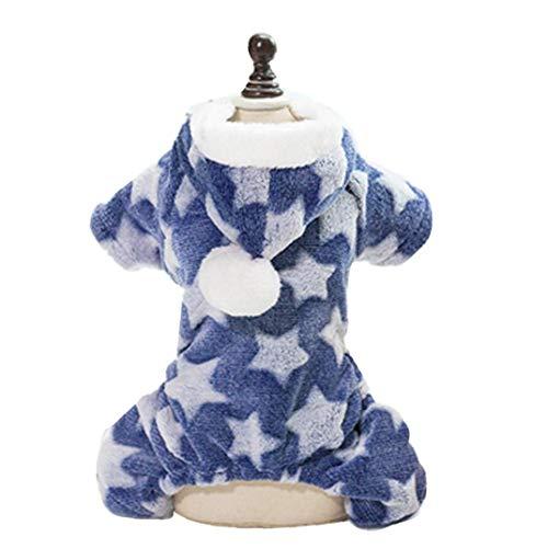 shentaotao Ropa Caliente Adorable De Perrito Festivo De Navidad Felpa Ropa Suave para Los Pequeños Perros De Perrito del Gato del Animal Doméstico Accesorios M (Azul)