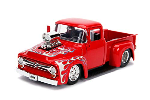 Jada 1956 Ford F-100 Pickup Truck with Blower Glossy Red with Flames Just Trucks Series 1/24 Diecast Model Car 30715