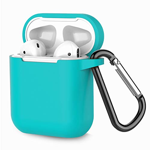 Coffea Protective Silicone Case with Keychain for Apple AirPods 1 & 2 (Front LED Not Visible) (Turquoise Blue)