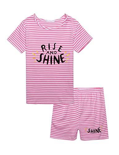 trudge Mädchen Zweiteiliger Schlafanzug Baumwolle Kinder Kurze Lange Ärmel Kurze Lung Hose Pyjama (140, Rosa)