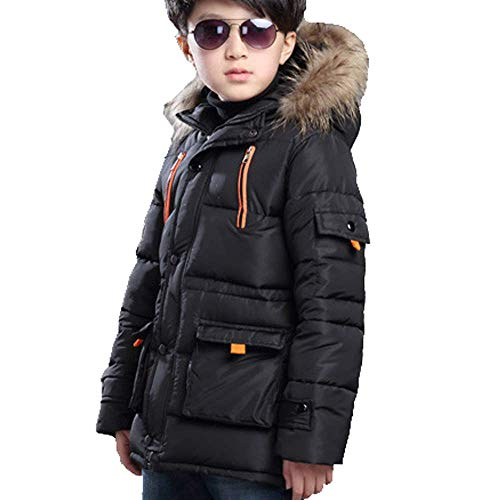 FARVALUE Boy Winter Coat Warm Quilted Puffer Water Resistant Parka Jacket with Detachable Fur Hood for Big Boys Black 8-9 Years