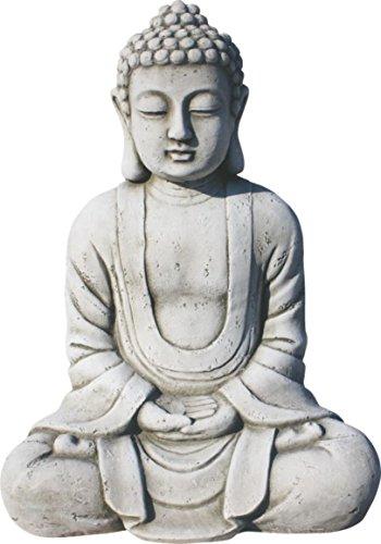 AnaParra Estatua Buda Tissa del Éxito Figura Decorativa para Jardín o Exterior Hecho de Piedra Artificial | Figura Buda 38cm, Color Natural Musgo