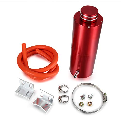 Twilight Garage Universal 7' x 2.5' Cylinder Red Aluminum Engine Radiator Reservoir Tank Coolant Overflow Hose Can Tank