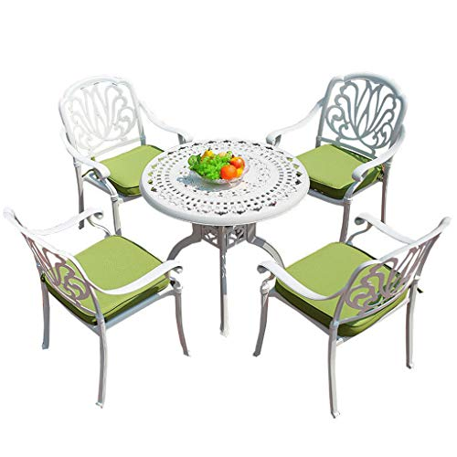 ZXHH Bistro Table Set, 5-Piece Rust-Free Aluminum High Dining Outdoor Pati, Outdoor Patio Table and Chairs Furniture, with Umbrella Hole - Round Bistro Table Set,White