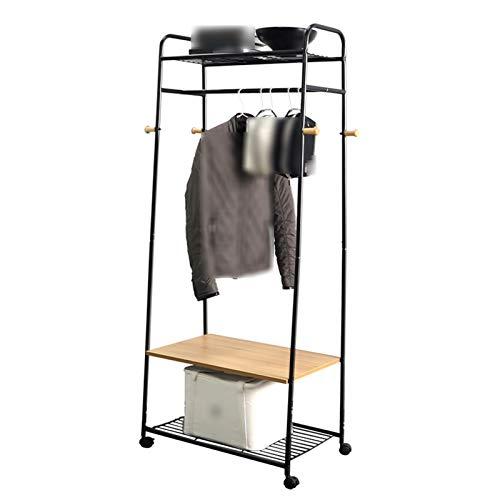 Perchero vintage soporte para ropa, metal con ruedas, estante de 2 niveles de carga fuerte, pasillo entrada dormitorio guardarropa para colgar ropa, sombrero, bolso, zapatero