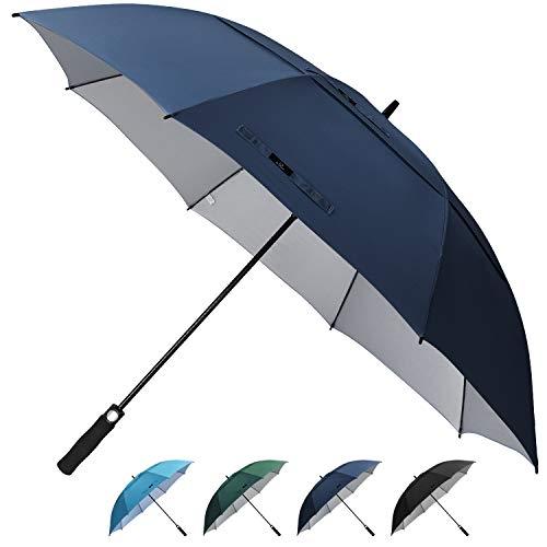 Prospo Golf Umbrella UV Protection 68 inch Auto Open Large Windproof Stick Vented Sun Rain Umbrellas Navy Blue