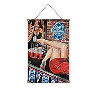 ハイヒールの女性がビールを飲みに来る木製のリストプラーク木の看板ぶら下げ木製絵画パーソナライズされた広告ヴィンテージウォールサイン装飾ポスターアートサイン