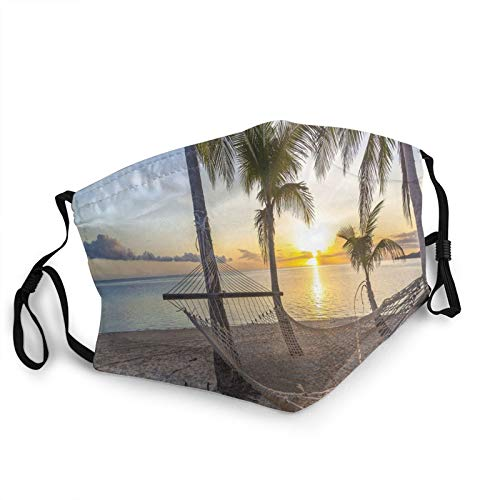 TENJONE Adult Washable and Reusable Facial Warm Windproof Outdoor Fashion Decorative mask,Paradise Beach with Hammock and Coconut Palm Trees Horizon Coast Vacation Scenery 1 PCS