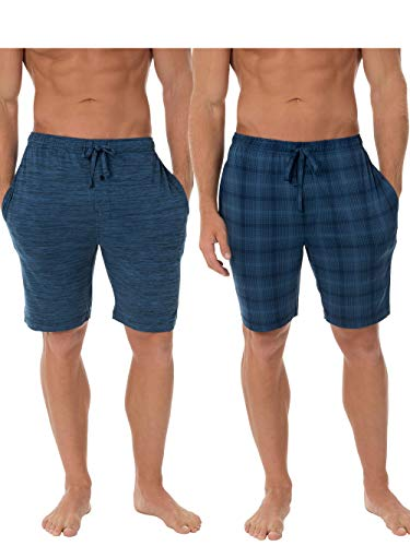 Fruit of the Loom Men's Knit Performance 2 Pack Soft Touch Wicking Sleep Short, Blue Heather/Plaid, X-Large