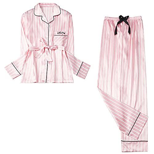 Nuevo Pijama de Primavera y Verano para Mujer, Conjunto de Blusas largas de Seda, Conjunto de Pijama para Mujer, Traje de Noche, Ropa de Dormir, pantalón Largo para Mujer, Noche-M_40-50KG